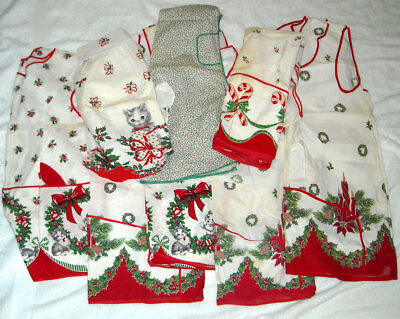 Lot 8 Vintage Christmas Aprons Smock Full Half Cutter Stained Flawed