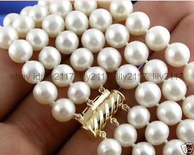 AAA+ 8-9MM 3 Rows White Real Freshwater Cultured Pearl Necklace 18KGP 17-19''