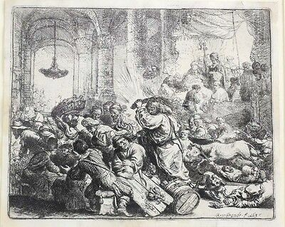 Rembrandt van Rijn (Dutch 1606-1669) Etching Christ Driving the Money Changers