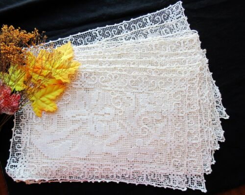 WEDDING SET 12 Antique Handmade Italian Lace Placemats  Grapes Leaves Vines BOSA