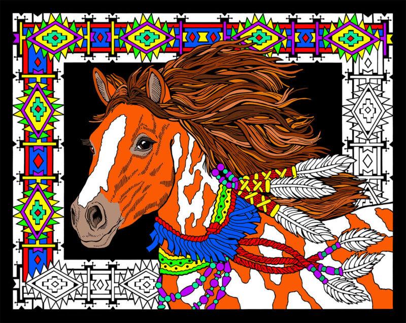 Desert Stallion - Large 16x20 Inch Fuzzy Velvet Coloring Poster
