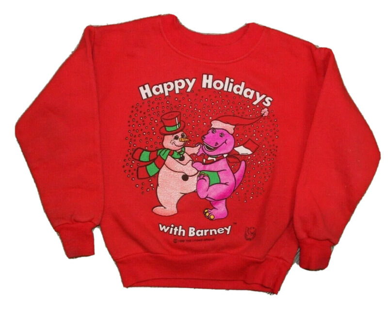 `RARE Vintage 90s 1992 Barney the Dinosaur Holidays Sweatshirt Toddler Size 4T