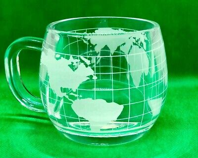 Vintage 1970 Nestle Nescafé Clear Glass Globe World Cup Mug Coffee Tea Mug