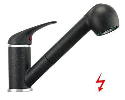 Schwarzes Ausziehbares (Niederdruck Wasserhahn ausziehbar Küchenarmatur Mischbatterie mit Brause schwarz)