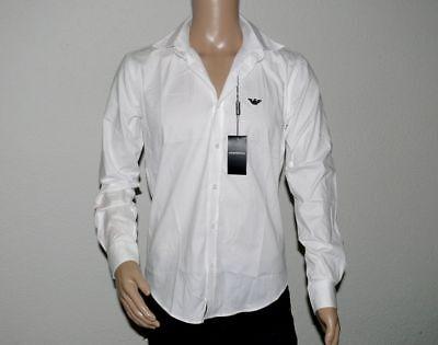 Armani Weiß Langarm (EA Emporio Armani 60652641 Herren Hemd Langarm Stretch Slimfit Weiß S M L XL XXL)