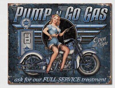 Pump N Go Gas Metal Tin Sign Home Motorcycle Garage Bar Shop Wall Decor #1698