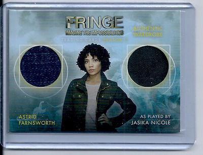 FRINGE - SEASON 5 - JASIKA NICOLE AS ASTRID FARNSWORTH WARDROBE CARD - DM-1