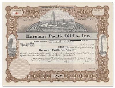 Harmony Pacific Oil Co., Inc. Stock Certificate