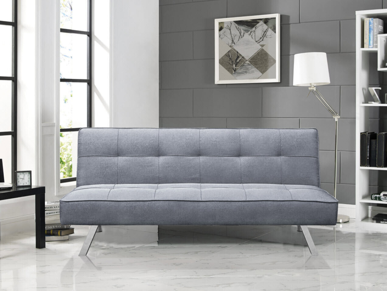 SOFA BED SLEEPER 3-Seat Light Gray Tufted Fabric Chrome Convertible Couch Futon