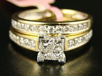Bridal Duo Band (Lady Bridal Engagement Diamond Duo Ring Band Set 1.0 Ct )
