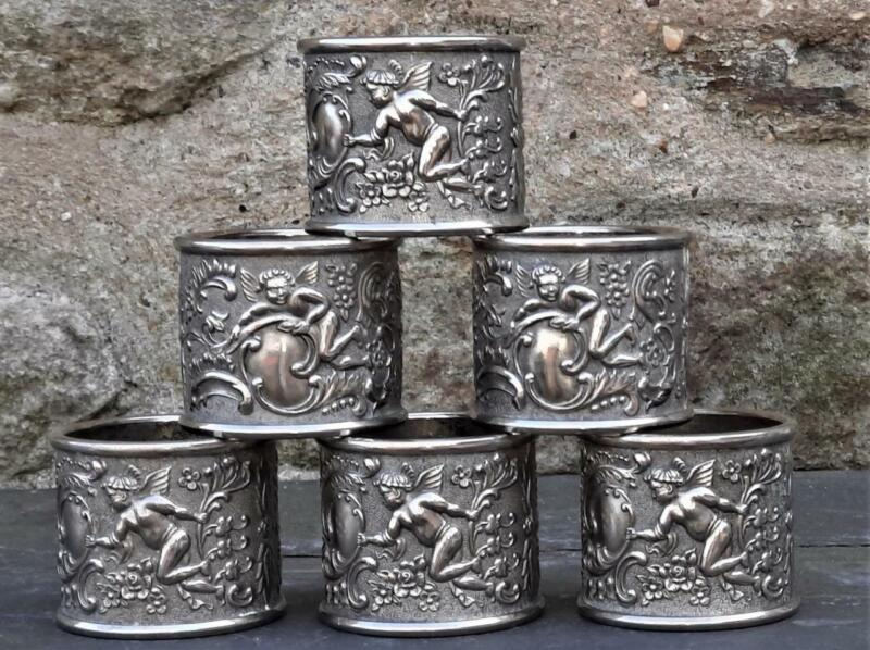 Fine Set of Six Antique Silver Plated  Napkin Rings with Putti