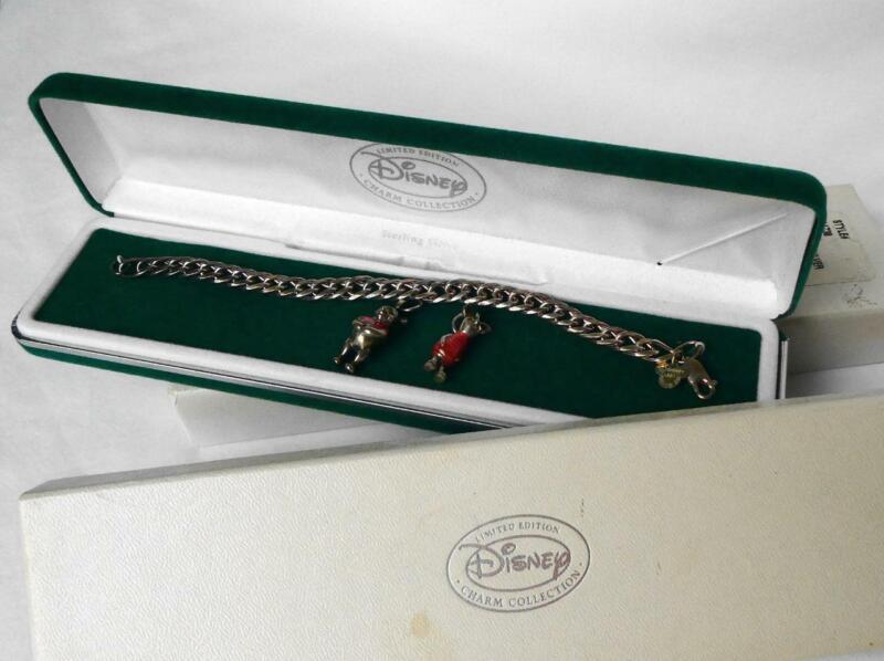 Disney Store Sterling Winnie The Pooh 2 Charm Bracelet Enamel Ltd Edition in Box