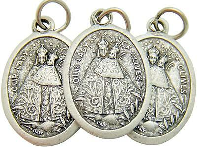 3 Lot Our Lady Of Olives Catholic Mary Madonna Medal Silver Plate 3/4