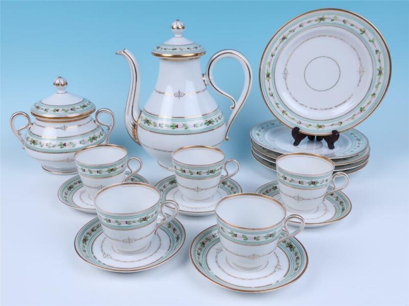 Antique French Porcelain 17pc Coffee Set Dessert Plates Pot Cup Saucer HP Paris