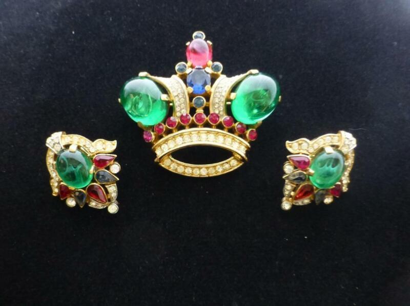 Vintage CROWN TRIFARI Alfred Philippe Jewels of India Crown Brooch &Earrings Set