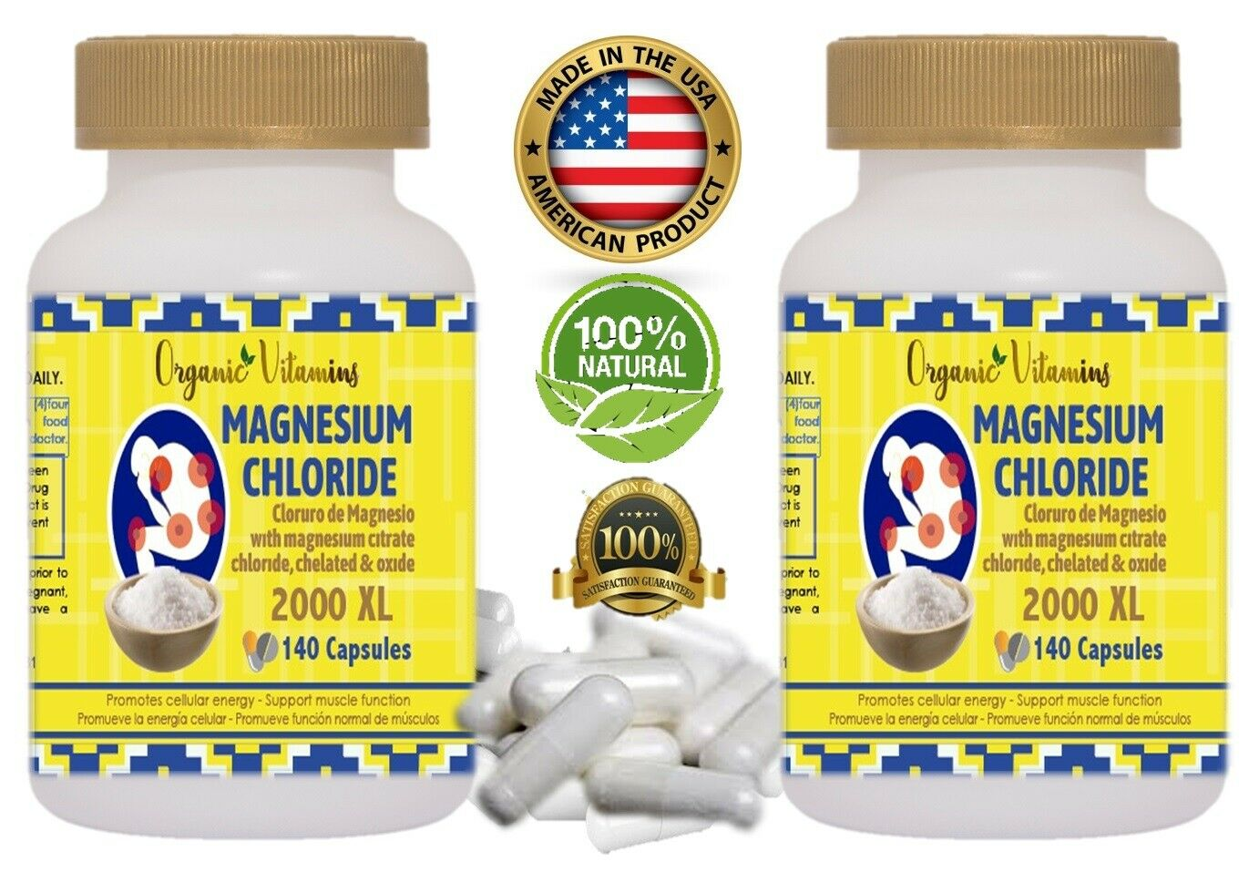 Cloruro de Magnesio Magnesium Chloride High absorption 140 capsules extract pure 6