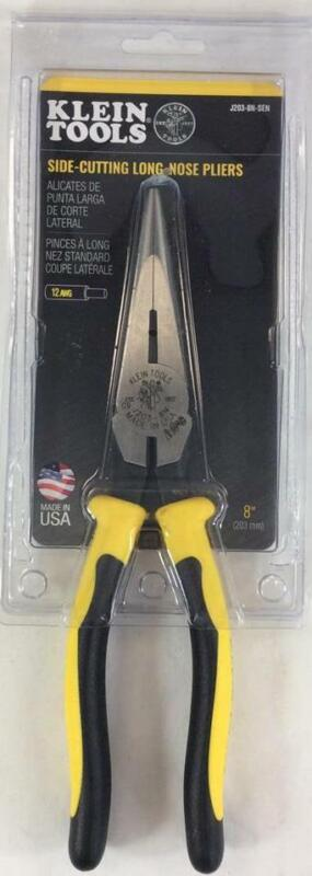 "Klein Tools (J203-8N-SEN) 8"" Side-Cutting Long-Nose Pliers - Made In USA - New!!"