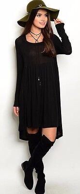 Maronie Hooded Hi-Lo Hem Gothic Baby Doll Dress Empire Waist Black Mini DMD59171 - Baby Gothic