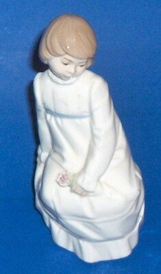 Vintage Nadal Spain Fine Porcelain Figurine Sitting Girl With A Single Flower for sale  Hollywood