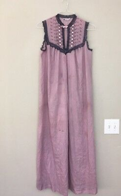 White Nightgown Halloween (Vtg Christian Dior Purple Nightgown Long Cotton Lace Stains Halloween Costume)