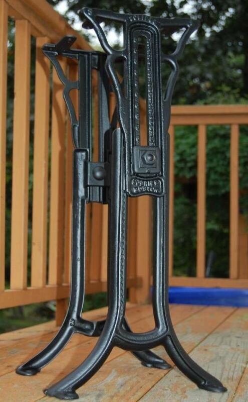 ANTIQUE BOBRICK ECLIPSE BOSTON ADJUSTABLE INDUSTRIAL CAST IRON TABLE BASE LEGS