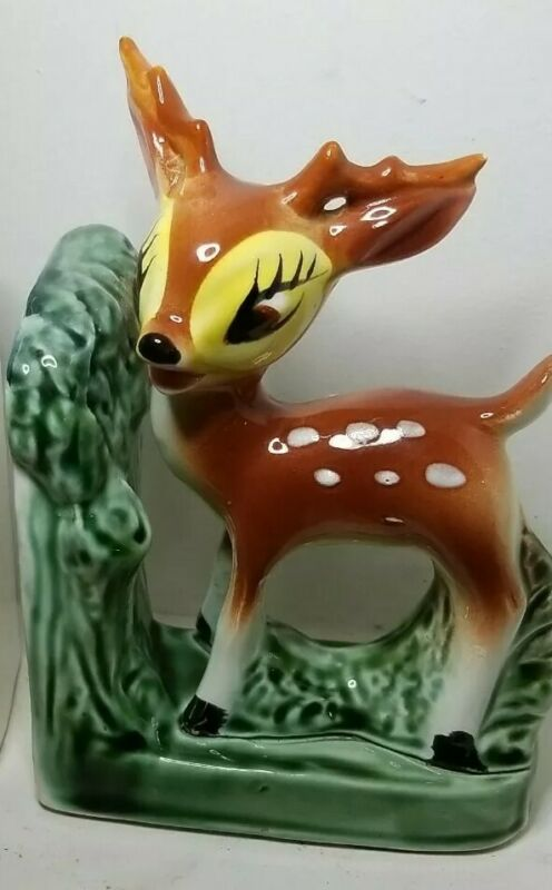 Vintage Spotted Baby Deer - Bambi Figurine Bookend Mid Century Japan
