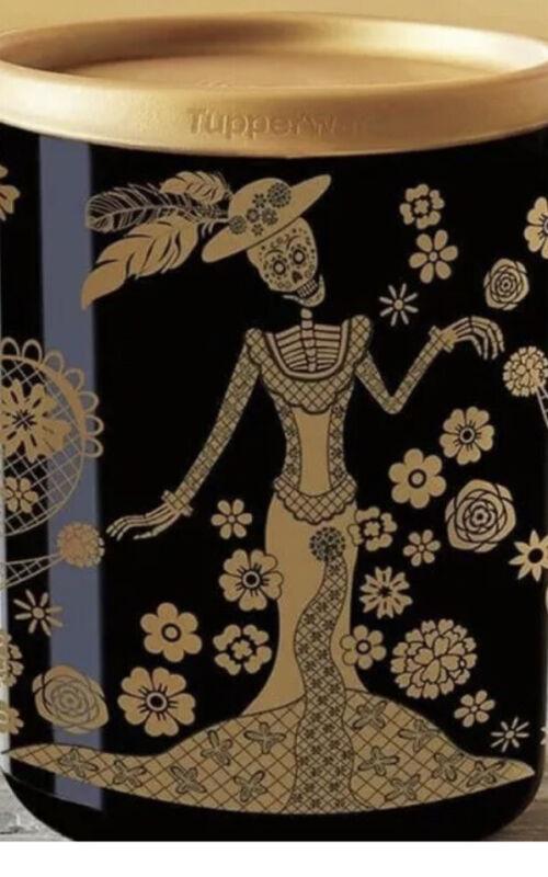 NEW Tupperware Dia De Los Muertos - Day of the Dead Ltd Edition Canister Black