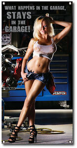 Sexy Garage Girl Banner Happens in Garage Team Hard Shop Garage ManCave Bar XXX
