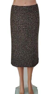 JIL SANDER Black / Ivory Wool Tweed  A-Line Midi Skirt Sz 36 / 4 US