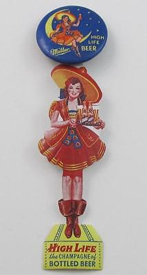Vintage MILLER HIGH LIFE BEER Girl In The Moon PINBACK CELLULOID CUT-OUT