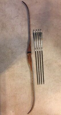 "Vintage RH 62"" 55# Recurve Bow includes 4 Arrows Bob Lee Hoyt Bear Wing Indian"
