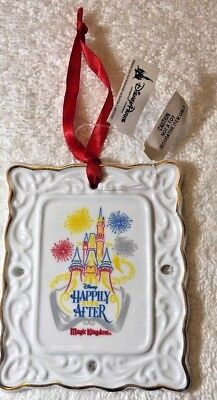 Disney Parks Happily Ever After Ceramic Scroll Christmas Ornament