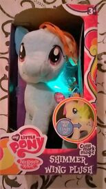 Brand New In Box My Little Pony Rainbow Dash With Light Up Shimmer Wing Plush Soft Toy