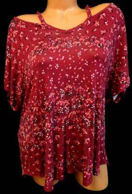 No boundaries pink floral print capped sleeve high low cut out top XXL 19 High Cap Print