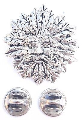 Green Man Handcrafted in Solid Pewter In UK Lapel Pin Badge
