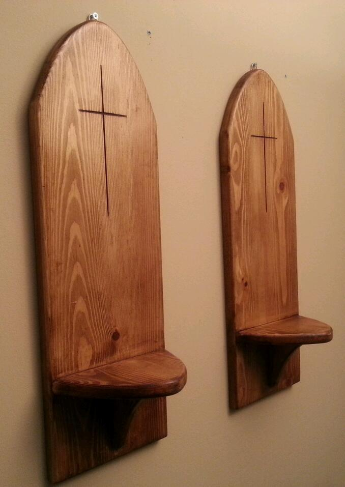 Gothic Arch Rustic Wall Candle Shelves. BRAND NEW, 1 Pair. Huge, Suitable For Large Church Candles.