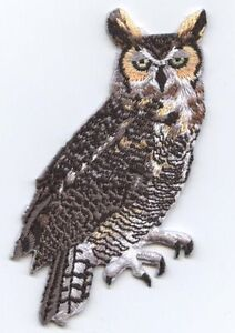 New Iron-On Applique Embroidered Patch Great Horned Owl Bird Animal