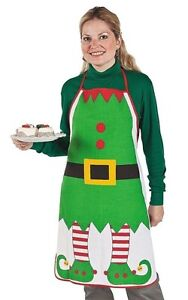 ADULT CHRISTMAS ELF APRON~KITCHEN GIFT~CHEFS~COSTUME~SANTA'S HELPER~PHOTO PROP