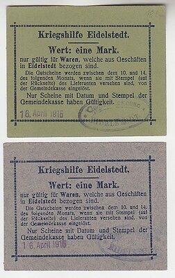 2 x Banknoten 1 Mark Kriegshilfe Eidelstedt 16.April 1915 (115885)