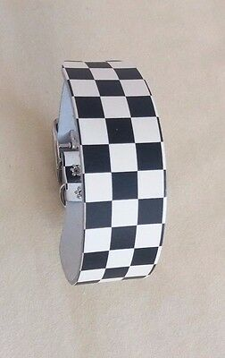 "**LEATHER** CHECKER BOARD WHIPPET/ MED SIZE DOG BAR COLLAR  ADJUST 12.5""-14.5"":]"