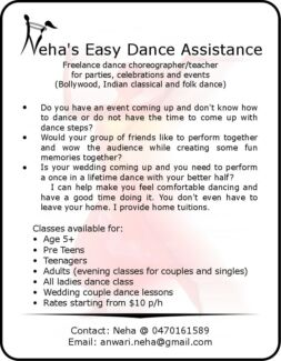 Nehas Easy Dance Assistance : Anytime, anywhere for anyone Craigieburn Hume Area Preview
