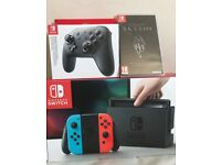nintendo switch with pro controller and skyrim