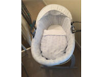 Baby boys blue & grey Moses basket with rocking stand