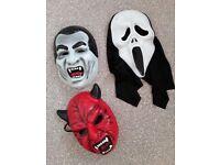 3 halloween masks dracula red devil & ghost