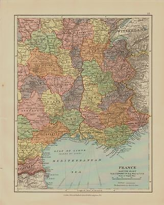 EDWARD STANFORD MAP  1920 . FRANCE -SOUTH EAST