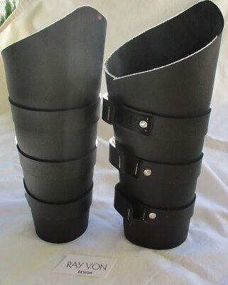 "Tall Gauntlets 3 strap BLACK Leather 10"" Adjustable"