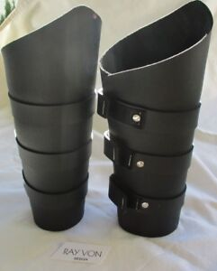 Tall Gauntlets 3 strap BLACK Leather 10
