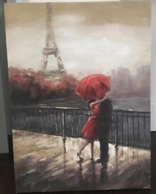 Romantic painting of a couple in kissing under an umbrella in Paris. 39£