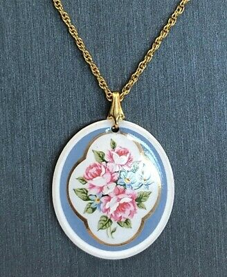 Vintage Artist Hand Painted Pink Rose Gold Gilt Ceramic Pendant Necklace 24""