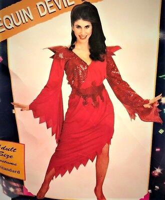 SEQUIN DEVIL LADY HALLOWEEN COSTUME DRESS PITCHFORK HEADPIECE WOMEN'S OS (Halloween Devil Lady)